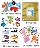 shark party favor box - 60 Piece Under the Sea Theme Birthday Party Favor Bundle Pack for 12 Guests (12 Mini Sea Life Plush, 12 Rubber Rings, 12 Hand Tattoos, 24 Make a Sticker Sets)