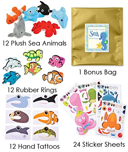 60 Piece Under the Sea Theme Birthday Party Favor Bundle Pack for 12 Guests (12 Mini Sea Life Plush, 12 Rubber Rings, 12 Hand Tattoos, 24 Make a Sticker (Ocean Themed Tattoos)