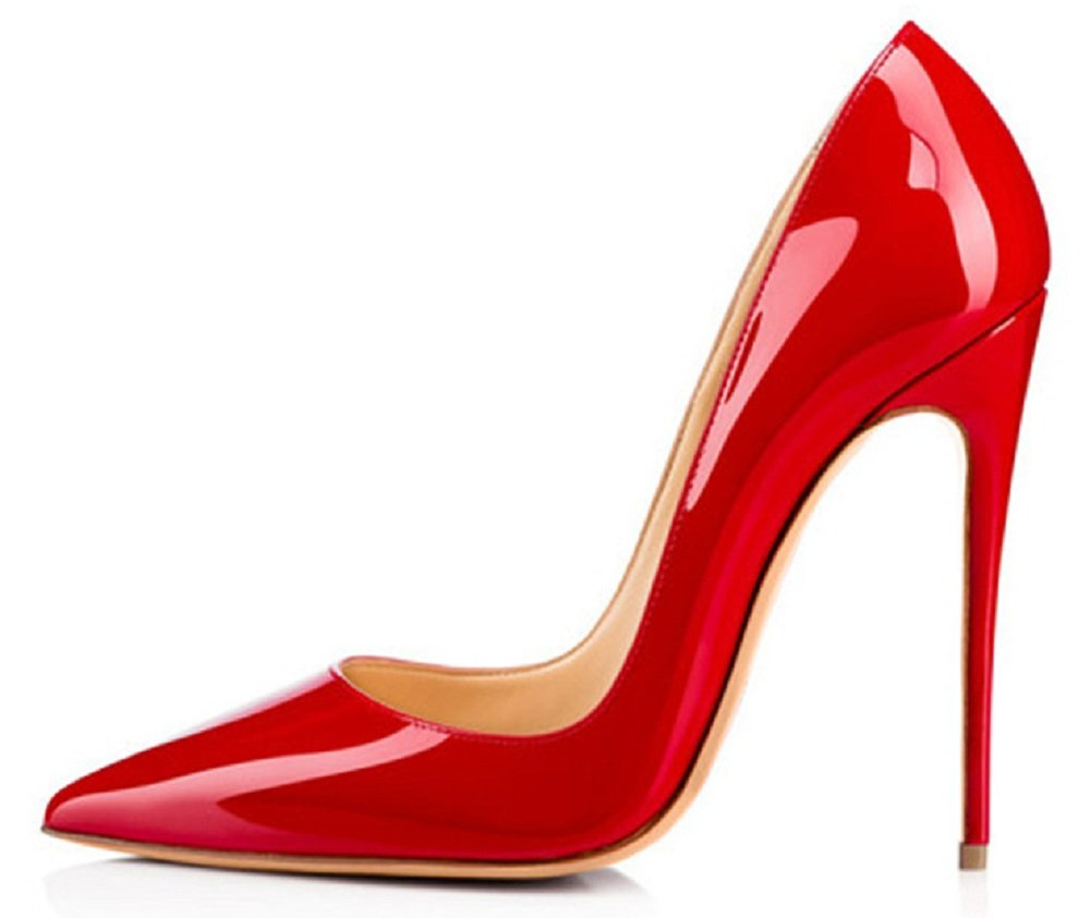 Emiki - Zapatos de tacón con punta cerrada Mujer EU38=24.2cm|Rot Lackleder
