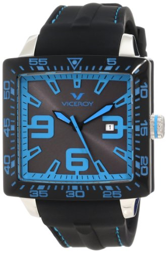Viceroy Women's 432099-35 Blue Number Square Black Rubber Watch