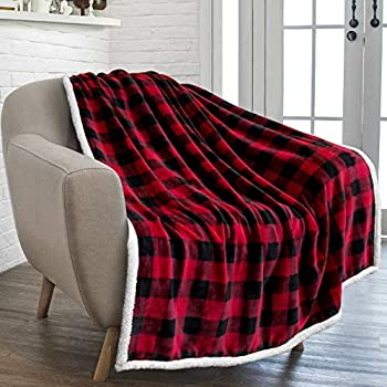 PAVILIA Buffalo Check Sherpa Fleece Throw Blanket | Red Black Checkered Flannel Blanket | Christmas Plaid Warm Plush Microfiber Blanket for Couch Sofa | 50x60 Inches