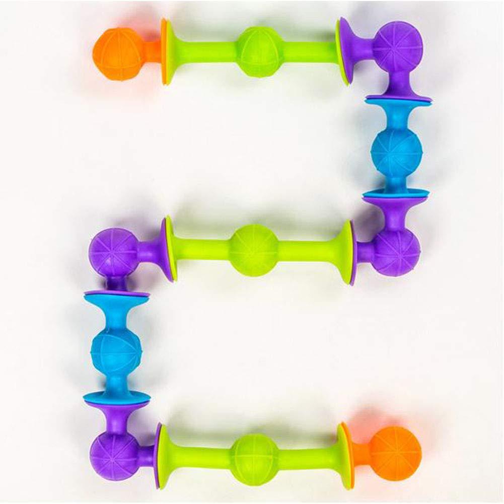 DishyKooker 48 weiche Silikon-Saugb/älle Bausteine Puzzle-Spielzeug f/ür Kinder