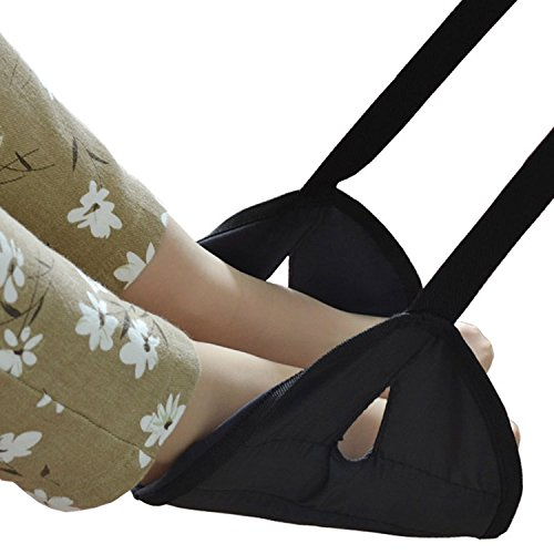 Fulegy Foot Rest, Portable Adjustable Height Travel Accessories Footrest Hammock for Office Bus Airplane