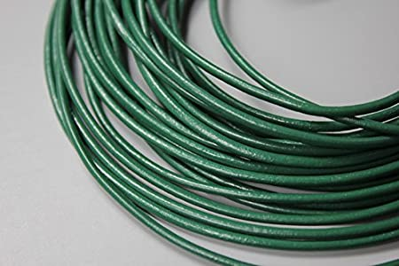 15 Yards 2mm Round Leather Cord Bracelet Necklace Leather Strap Metallic Gray