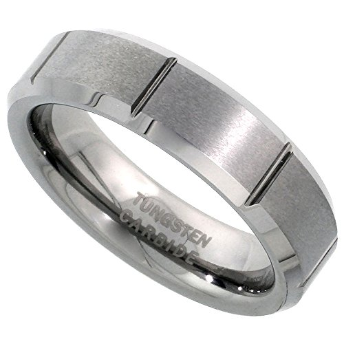 Tungsten Carbide 6 mm Flat Wedding Band Ring Satin Finished Vertical Grooves Beveled Edges, size 8