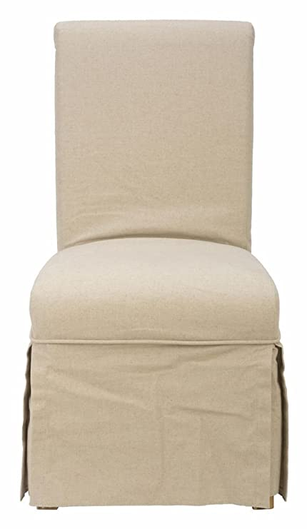 Jofran Slater Mill Pine Slipcover Skirted Parson Chair With Linen Look (Set  Of 2)