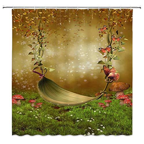 AMNYSF Leaf Hammock Decor Shower Curtain Flower Butterfly Green Meadow Mushroom Wild Floral Fantasy Scenery Khaki Fabric Bathroom Curtains,Waterproof Polyester with Hooks 70x70 Inch