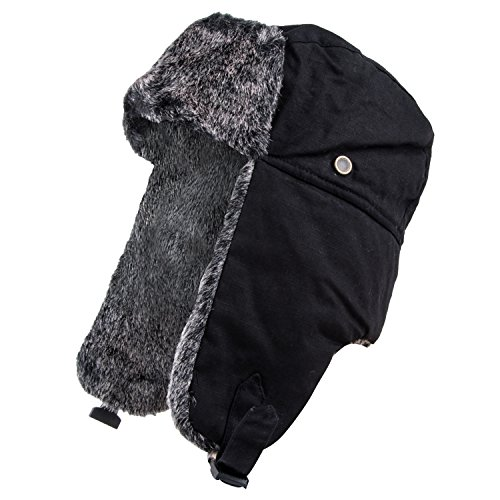 Pierre Cardin Men's Trapper Hat (Faux Fur Black, 6XL) - Classic Tall Bomber