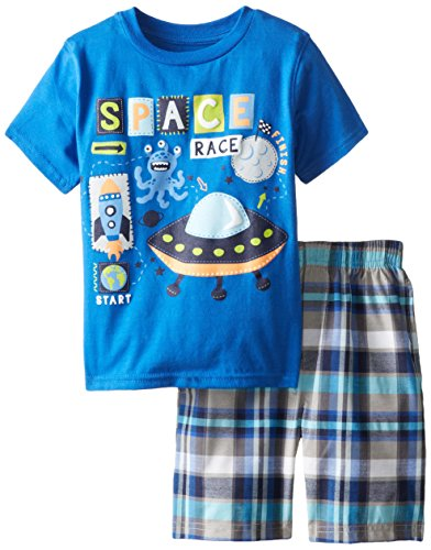 Kids Headquarters Little Boys' Tee with Plaid Shorts Space 4-7, Navy, 5