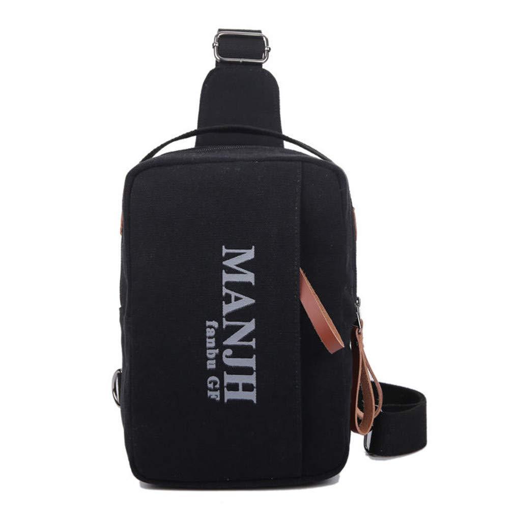Men Crossbody Bag Canvas Chest Pack Bag Printing Letter Shoulder Messenger Bag Vintage Casual Sling Bag black