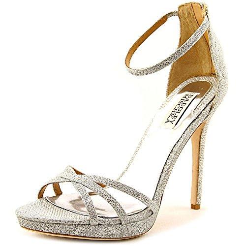 Badgley Mischka Women's signify Platform Sandal, Silver, 10 M US (Designer Fashion Heel)