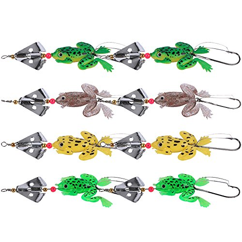 Goture Rubber Frogs Soft Fishing Lures Bait Set Bass CrankBait Tackle 9cm_3.54'_6.2g spinner spoon Lures - Lures Spinners