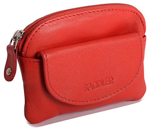 SADDLER Womens Red Compact Soft Nappa Leather Zip Top Coins & Key Purse with Front Flap Pocket - Flap Pocket Shoulder Bag