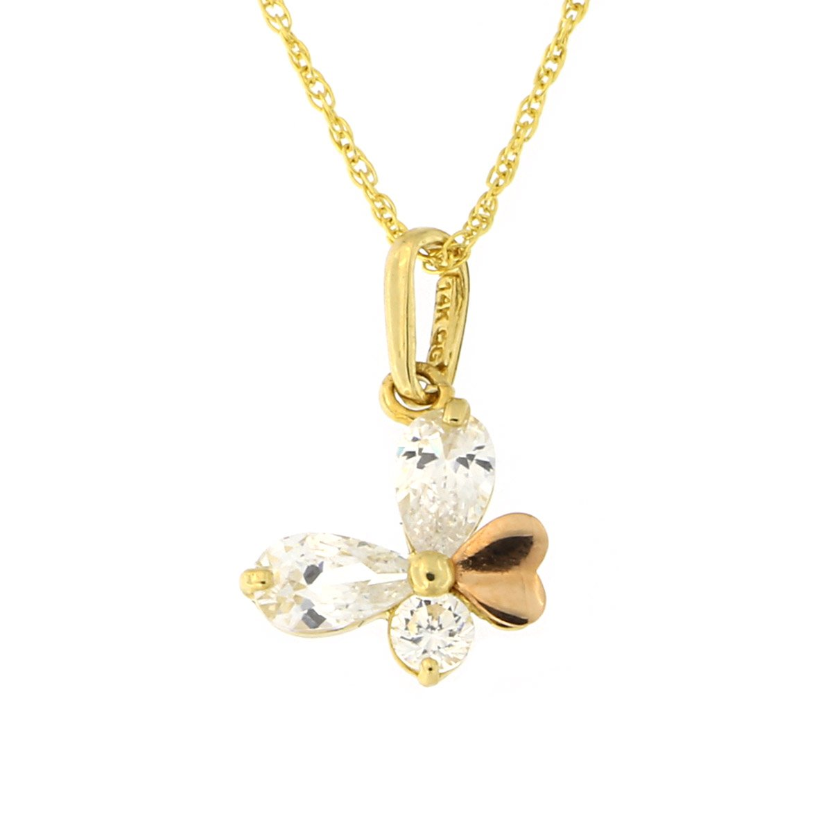 Beauniq 14k Yellow and Rose Gold Cubic Zirconia Butterfly Pendant Necklace