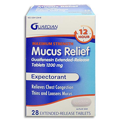 Guardian Mucus Relief 12 Hour Extended Release Guaifenesin, Chest Congestion Expectorant Tablets (28 Count, 1200mg)
