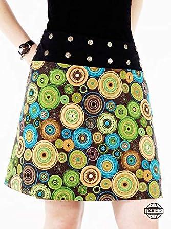 pacap - Falda Reversible de algodón con diseño de Mandala y Flores ...