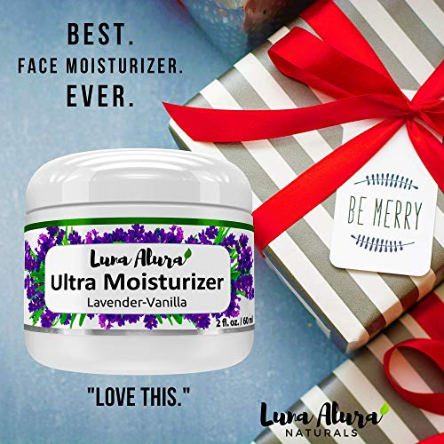 Luna Alura Naturals Face Moisturizer – Ultra Hydrating Organic Skin Care – Made in the USA – Natural Lavender Vanilla Scent (2 oz)