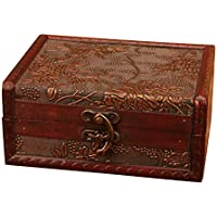 SODIAL Vintage grapes pattern Storage Trunk Box Jewelry Holder with Lock,wine red