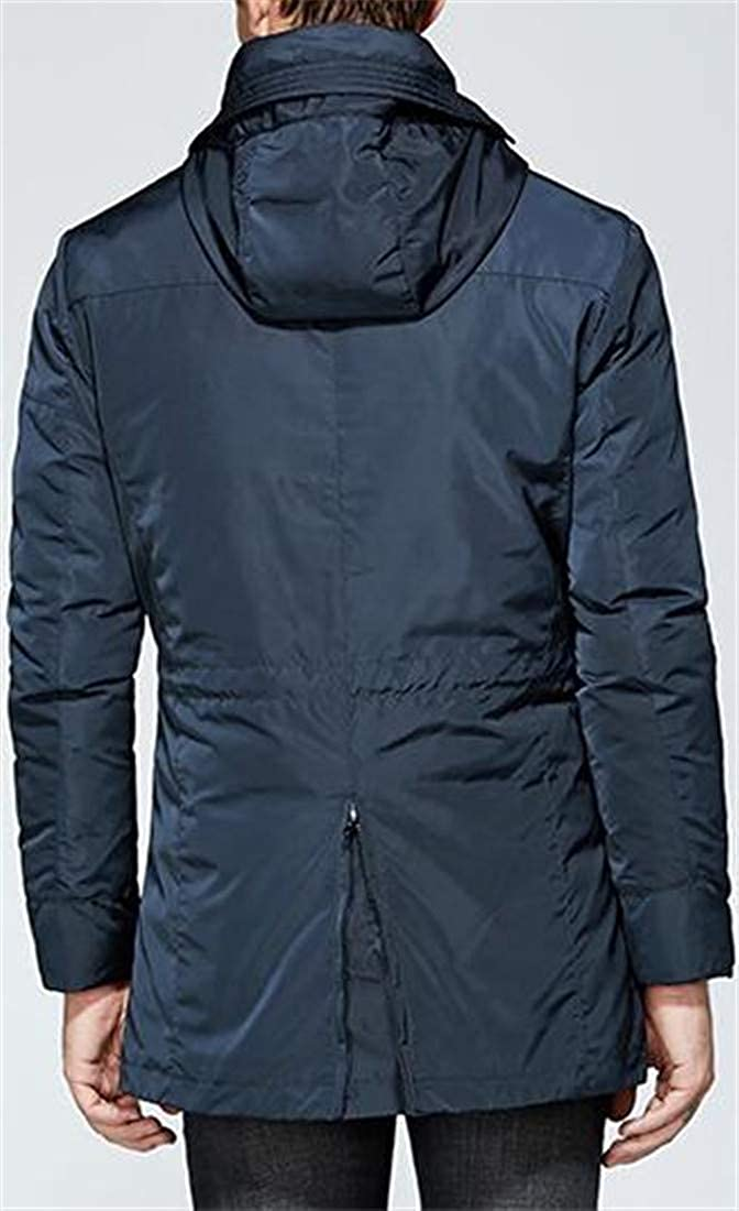 Cromoncent Men Hood Thickened Outwear Winter Overcoats Loose 2 Pieces Parkas Coats