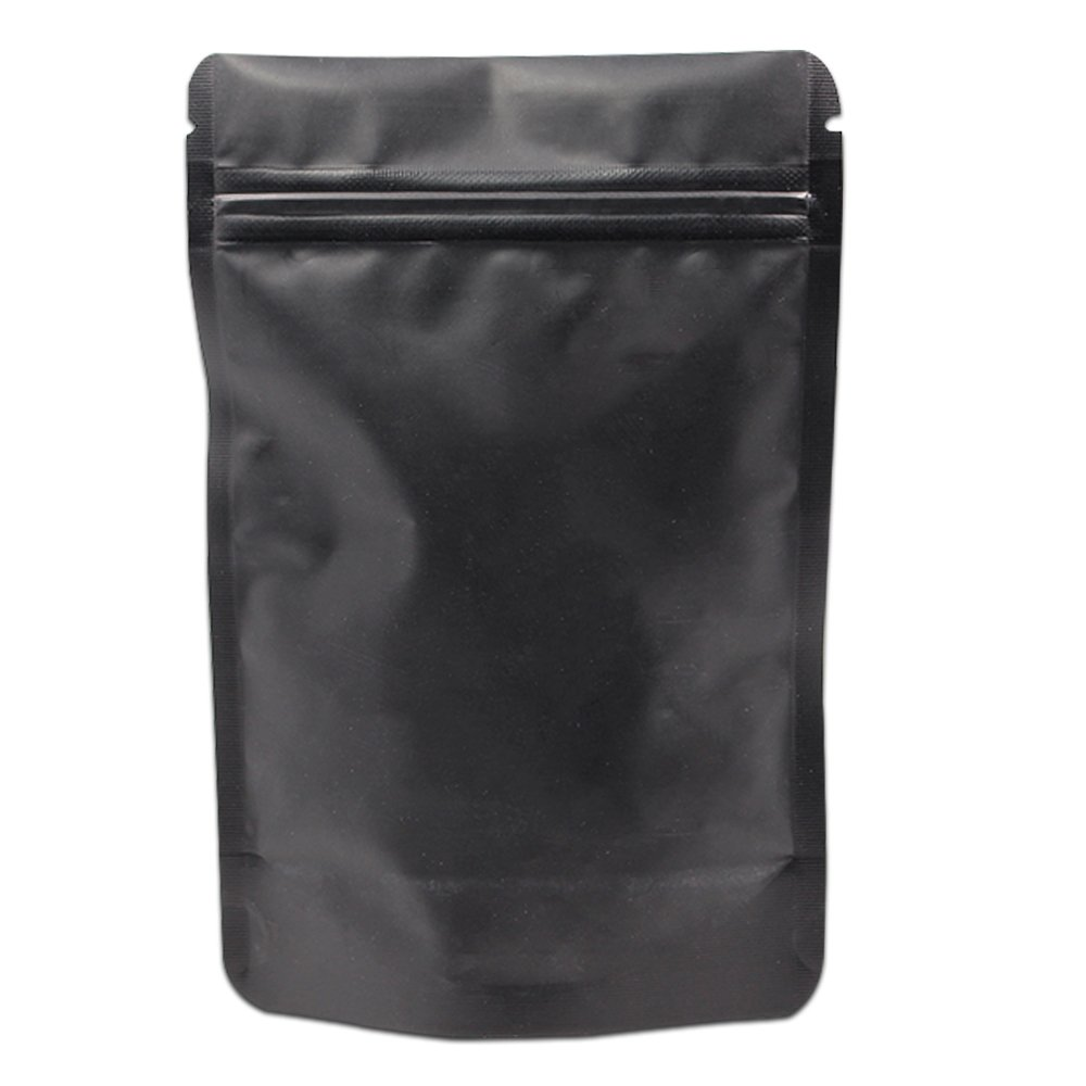 10x15cm (3.94''x5.9) Matte Black Stand Up Aluminum Foil Bag Food Grade Self Seal Mylar Zipper Doypack Packaging Bags Frosted Surface Storage Pouch for Coffee Powder Snacks 50 Pieces BAT Pack