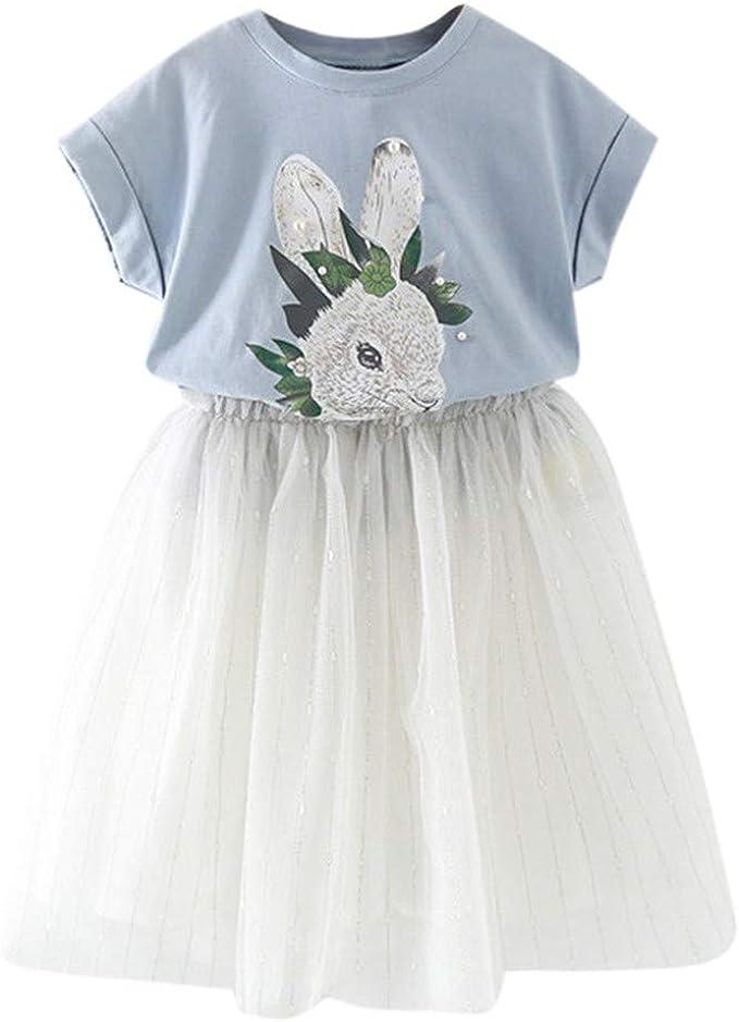 Camiseta con Estampado de Conejo Tops + Falda de tutú de Tul para ...