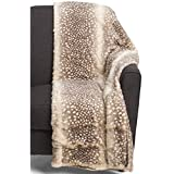 Cynthia Rowley Spotted Snow Leopard Faux (Fake) Fur Throw Blanket