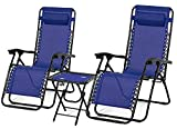 Rxmoto Zero Gravity Chairs Table with Cup Holder Set 3 Pieces Adjustable Folding Lounge Recliners with Head Rest Pillow for Patio Outdoor Yard Beach Pool Support 350lbs (Cream) (Blue.)