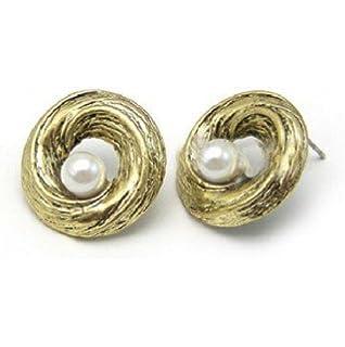 Vintage clous avec perle dans un anneau en optique d or de DesiDo® b155af9327e5