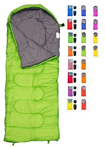 - REVALCAMP Sleeping Bag for Cold Weather - 4 Season Envelope Shape Bags by Great for Kids, Teens & Adults. Warm and Lightweight - Perfect for Hiking, Backpacking & Camping (Green - Envelope Left Zip)