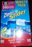 8 Wholesale Lots Ziploc Slider Bags Variety Pack Quart and Gallon Storage Bags, 1120 Bags Total