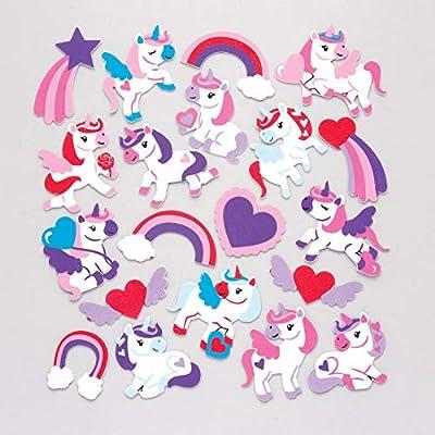 Baker Ross- Pegatinas de Unicornios amorosos de Espuma (Pack de 120) para Decorar Manualidades Infantiles para el Día de la Madre y San Valentín