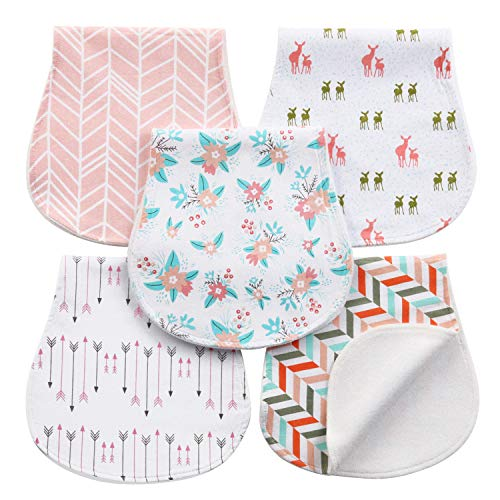 Baby Burp Cloths 5 Pack, 3 Layer 100% Cotton Soft Burping Rags for Newborns