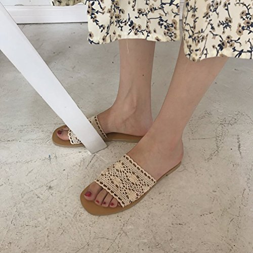 Jitong Comfortable Woven Sandals for Ladies Low Top Open-Toe Flat Shoes Slippers for Summer Beige T5mzDxrLUz