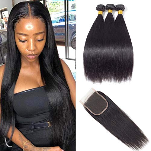 - Brazilian Hair 3 Bundles with Closure, Unprocessed Straight Virgin Human Hair Extensions, 4x4 Lace Free Part Closure Natural Color (18 20 22with16, natural color)
