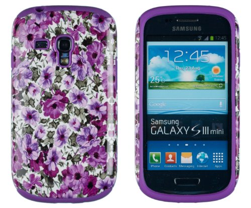DandyCase 2in1 Hybrid High Impact Hard Lavender Garden Floral Pattern + Purple Silicone Case Cover For Samsung Galaxy S3 Mini i8190 + DandyCase Screen Cleaner