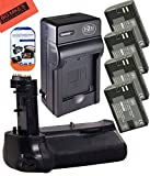 Battery Grip Kit for Canon EOS 7D Mark II Digital SLR Camera Includes Qty 4 BM Premium LP-E6, LP-E6N Batteries + Battery Charger + Replacement BG-E16 Battery Grip