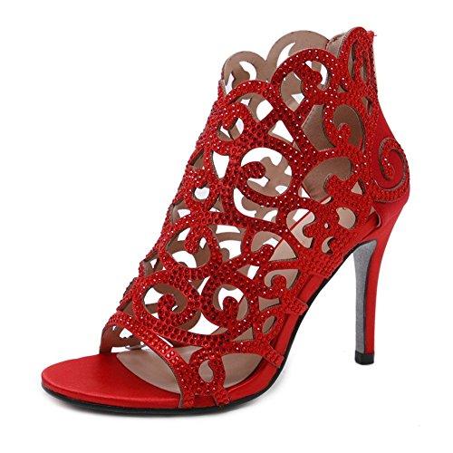 Stupmary Women Pumps Bridal Shoes Crystal High Heels Rhinestone Cut-Outs Zip Thin Heels Wedding Shoes ()