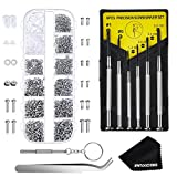 Paxcoo Eyeglasses Repair Kit – 1100Pcs Small Screws and Nose Pads Set with 6 Pcs Screwdrivers for Glasses, Sunglasses and Watch Repair