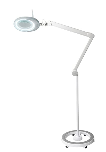 ab03befac2a Dimmable LED Light Magnifying Floor Lamp - Adjustable Arm w/Heavy Duty  Rolling Base Magnifying