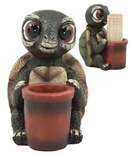 Star Toothpick Holder (Ebros River Lake Baby Tortoise Holding A Bucket Toothpick Holder Figurine 3.5