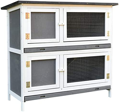 PawHut Solid Wood Rabbit Bunny Hutch with 2 Large Main Rooms, Protection from UV Rays and Water, and Firm Cage
