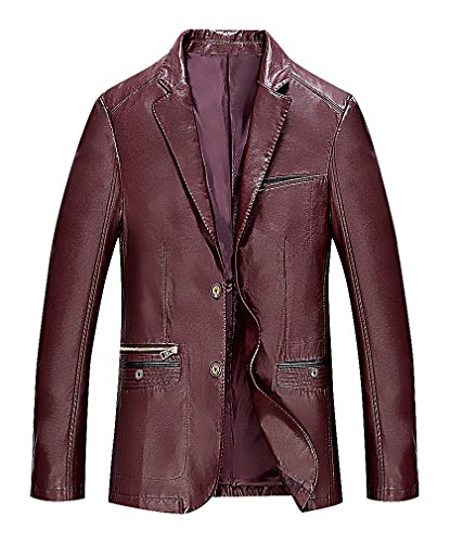 CELINO Men's Solid Color Notch Collar 2 Buttons Multipocketed Faux Leather Blazer, WineRed XXXL (Notch Collar Leather)