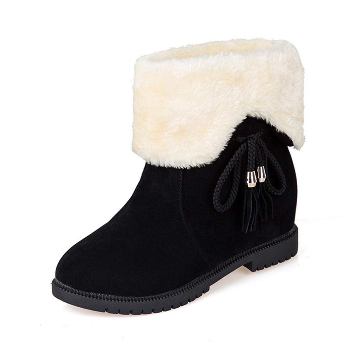 Bottes de Neige d Femme Hiver 8939 Chaud Noir Marron Chaussure avec d hiver Fourrure avec Noeud à Enfiler Bottines Femme Mode épaisse Mi-Mollet Casual à la Maison-Fanessy Noir fee02ff - reprogrammed.space