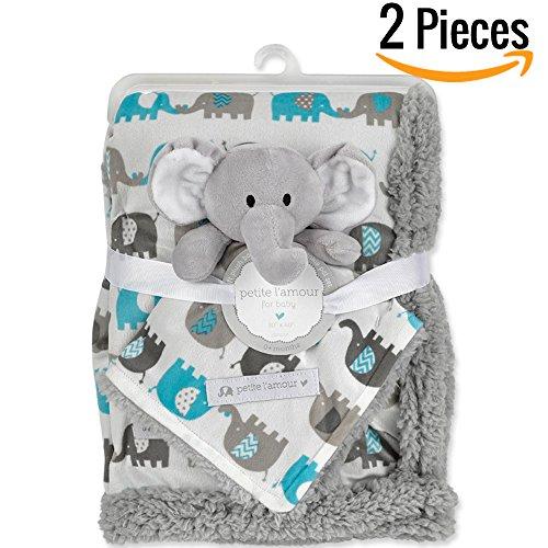 "Baby Boy Blanket (Baby Blanket + Plush Toy Or Neck Pillow 30"" X 40""— Swaddle Blanket - Security Blanket - Toddler Blanket- Newborn Blanket- Baby Blankets For Girls & Boys - Para Bebe Niña Bebe Niño)"