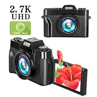 Digital Camera vlogging Camera for YouTube with Flip Screen 2.7K UHD 30.0MP 3.0 Inch Flip Screen 16X Digital Zoom Point and Shoot Camera