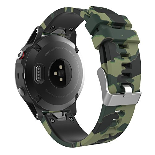 MoKo Garmin Fenix 5 Quick Fit 22mm Watch Band, Soft Silicone Replacement Strap for Garmin Fenix 5/5 Plus/Fenix 6/6 Pro/Instinct/Forerunner 935/Aproach S60 Smart Watch, Ground Force Camouflage