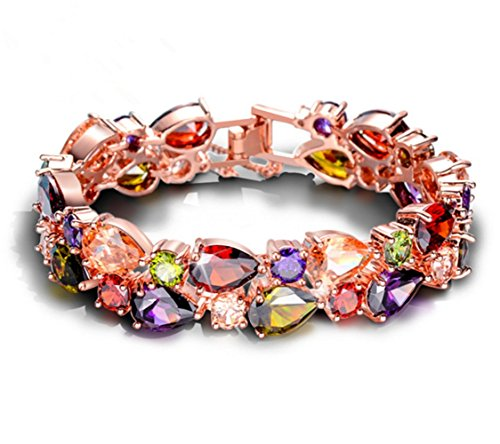 Jewelers Skin Guard (Adorable Woman Dual Layer Multicolor Full Prong CZ Bracelet Chain Rose)