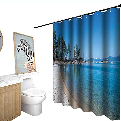 RenteriaDecor Lake Tahoe Flower Shower Curtain Clear Water in Shore of Lake Tahoe Idyllic Calming Scene Bathroom Window Curtains Azure Blue Coconut Forest Green W108 x L72