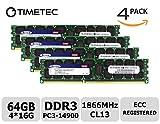 Timetec SUPERMICRO 64GB Kit (4x16GB) DDR3 1866MHz PC3-14900 Registered ECC 1.5V CL13 2Rx4 Dual Rank 240 Pin RDIMM Server Memory RAM Module Upgrade (64GB Kit (4x16GB))