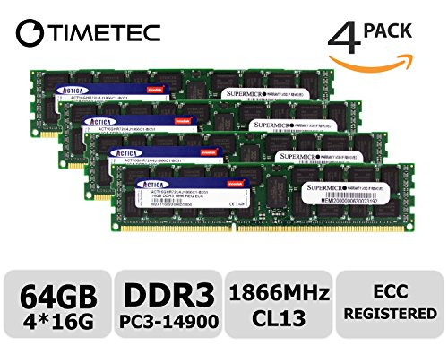 Ibm Server Memory - Timetec SUPERMICRO 64GB Kit (4x16GB) DDR3 1866MHz PC3-14900 Registered ECC 1.5V CL13 2Rx4 Dual Rank 240 Pin RDIMM Server Memory RAM Module Upgrade (64GB Kit (4x16GB))